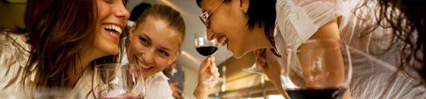 Women socializing over wine
